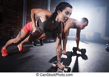 運動員, 舉起秤砣, 以及, 做, 推, 向上