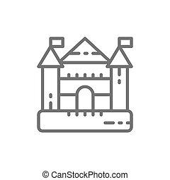 運動場, 子供, 催し物, 城, 弾力がある, 複合センター, 線, icon.