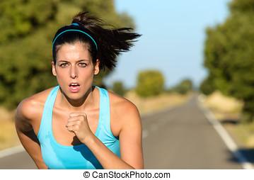 運動婦女, 跑, 在, 路