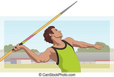 運動選手, やり, 背景, マレ, 投げる, 投げ槍