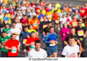 運動選手, グループ, マラソン