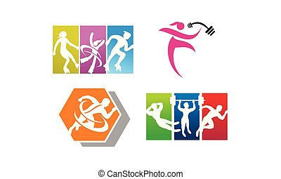 運動選手, スポーツ, セット, テンプレート