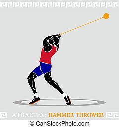 運動選手, ハンマー, 投げる人