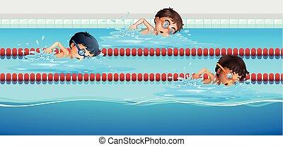 運動選手, プール, 水泳