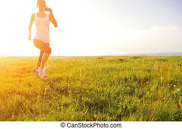 運動選手, ランナー, 動くこと, 草, 海