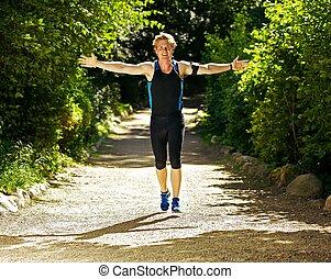 運動選手, 伸ばしている, 動くこと, 腕