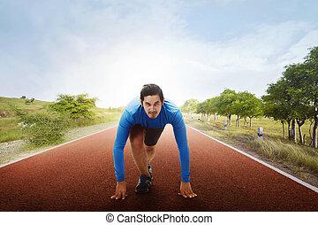 運動選手, 動くこと, アジア人, 準備ができた, 線, 始める, 人