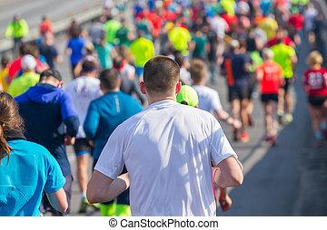 運動選手, 動くこと, グループ, マラソン