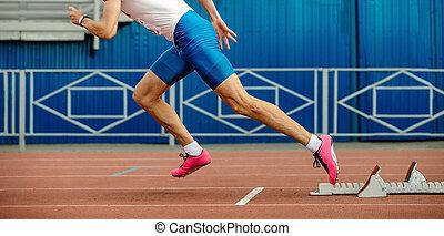 運動選手, 始めなさい, スプリント, ランナー