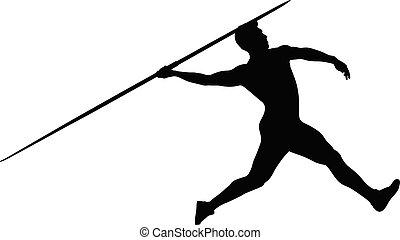 運動選手, 投げ槍, シルエット, 投げる人, 黒