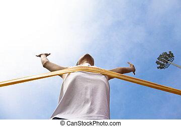 運動選手, 雲, 背景, 勝利