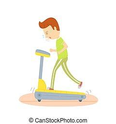 運動, カラフルである, イラスト, 朝, ジョッギング, 毎日, 若い, 機械, 動くこと, 人, 背景, ルーチン, 白, スポーツ, 踏み車, regularly, 練習, 人