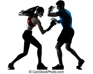 運動, コーチ, 男の女性, boxe