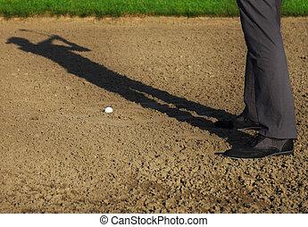 運動, ゴルフ, 若い, クラブ, 振動, 遊び, 人