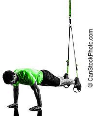 運動, シルエット, 懸濁液, 人, 訓練, trx