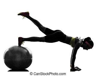 運動, シルエット, 板, 試し, 女, フィットネス, ポジション