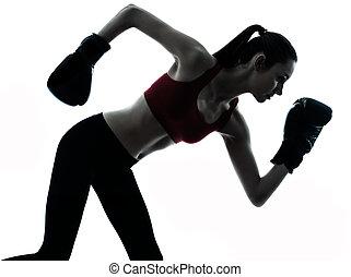 運動, シルエット, 美しい女性, boxe