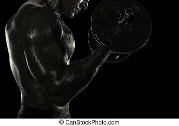 運動, 二頭筋, 黒, gym., 白, 効果, 訓練, 人