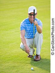 運動, 人, ゴルフ, 遊び, 若い