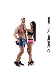 運動, 以及, 健康, life., 夫婦形成, 在照像机