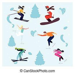 運動, 冬天, 實踐, 人們, 極端, 集合