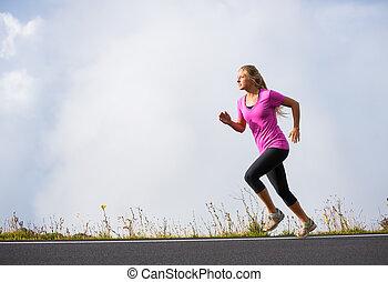 運動, 動くこと, 女, ジョッギング, 外
