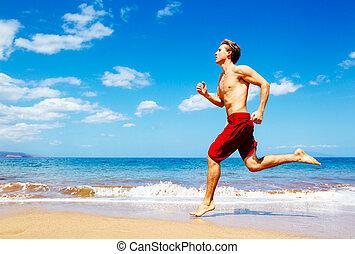 運動, 動くこと, 浜, 人