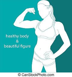 運動, 女の子, 魅力的