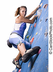 運動, 女孩, 攀登