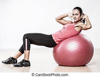運動, 女, 練習の 球, フィットネス