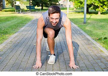 運動, 始めなさい, 動くこと, ポジション, 人, ハンサム