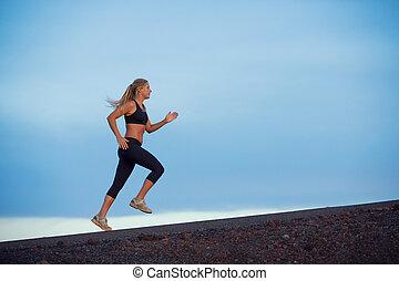 運動, 婦女跑, 慢慢走, 外面