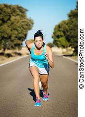 運動, 婦女, 准備好, 為, 跑