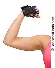 運動, 婦女, 屈曲, 她, 二頭肌