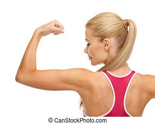 運動, 婦女, 顯示, 她, 二頭肌