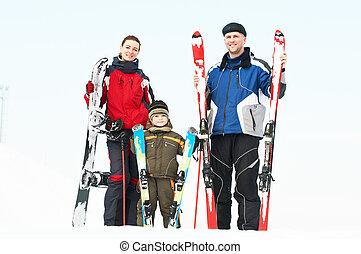 運動, 家庭, 由于, 滑雪, 在, 冬天