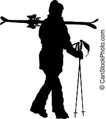 運動, 山, 矢量, 黑色半面畫像, skier.