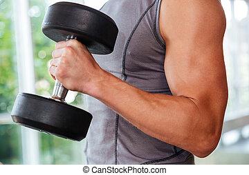 運動, 年輕人, 運動員, 訓練, 使用, dumbbells, 在, 體操