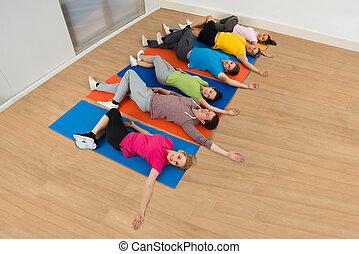 運動, 幸せ, グループ, multiethnic, 人々