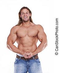 運動, 性感, 男性的身體, 建造者, 由于, the, 白膚金髮, 長, hair., gladiator