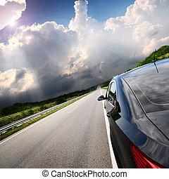 運動, 汽車, 路, 背景, 迷離