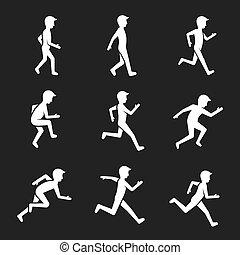運動, 活動, 圖, icons., 人類, 行動, 相象, 步行, 以及, 跑, 跳躍, 以及, 運動, 矢量, 簽署