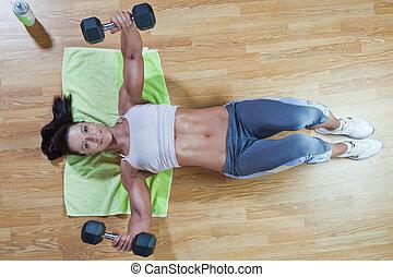 運動, 練習, ショー, 例, ジム, トレーナー