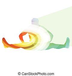 運動, 練習, 伸張, の上, 背景, 人, 暖かい, シルエット