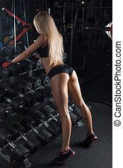 運動, 美麗的婦女, 站立, 在, the, gym., fitness.