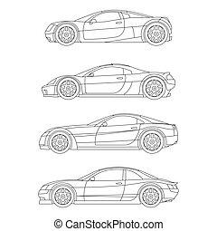 運動, 肌肉, 汽車, outline, 圖畫, 紅色, 套間, 圖象, 矢量