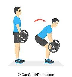 運動, 試し, deadlift, 練習, barbell., 人