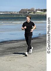 運動, 走っている男性, 浜, 若い