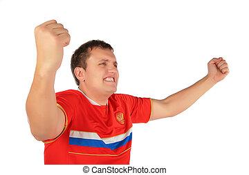 運動, 迷, 人, 由于, 舉起手來