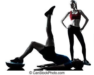 運動, bosu, コーチ, 男の女性, abdominals